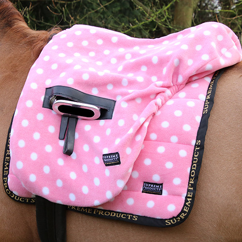 Supreme Products Ride on Dotty Fleece Saddle Cover - Pretty Pink - One Size