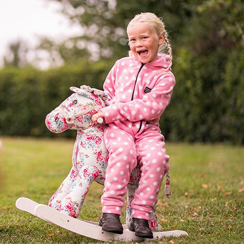 Supreme Products Child's Dotty Fleece Onesie - Pretty Pink - X Small